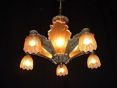 Antique large French bronze Art Deco chandelier w frosted glass inserts - shades