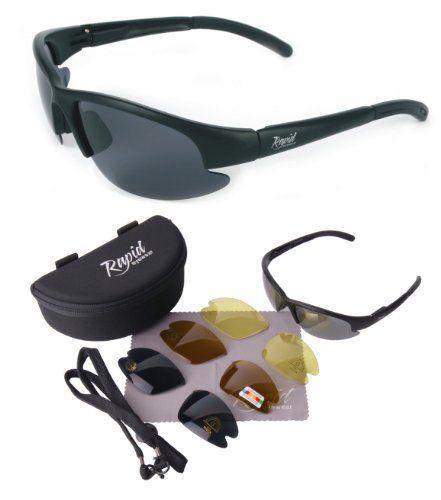 Nimbus (schwarz) mit POLARISIEREND WECHSELGLÄSER (grau verspiegelt & braun polarisierte + gelbe gläser). Leichtgewichtige SPORT SONNENBRILLE. UV schutz 400. Für Herren und Damen