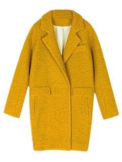 Yellow Long Sleeve Lapel Coat