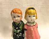 Vintage Bisque Dolls, 2 Frozen Charlotte, Penny Doll, Immobile Doll,  Red Hair Boy, Boy Girl,  3 inches, Japan, Circa 1930s