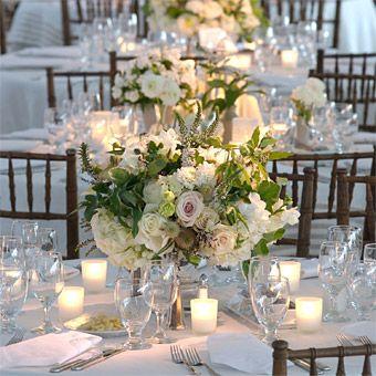 Tibet roses, dahlias, lisianthus, freesia, thistle, lysimachia, scented geraniums, bush ivy and passion fruit vine. Brides: White Winter Wedding Flower Ideas :