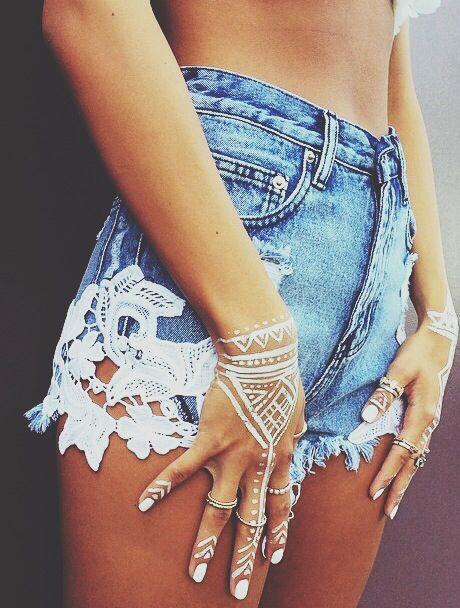 Lace denim shorts