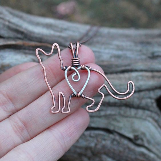 Cat Necklace, Kitten, Copper, Pet Jewelry, Sterling Silver, Wire Jewelry