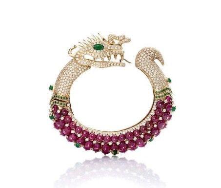 Ruby, Diamond and 18K Gold Dragon Bracelet