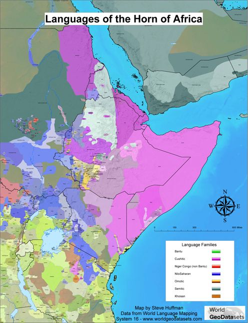 Map Showing The Distribution Of The AfroAsiatic Somali Language - Horn of africa map
