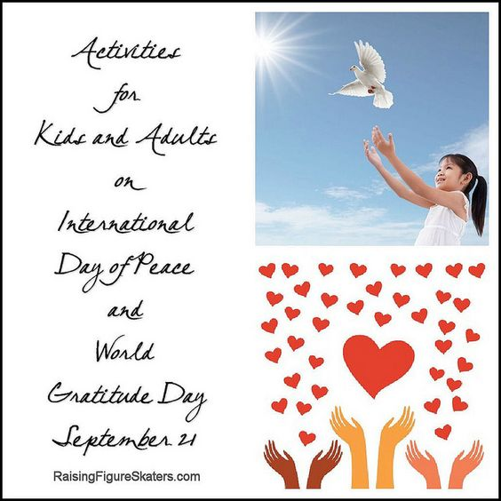 Activities for Kids and Adults on International Day of Peace and World Gratitude Day - Includes links to Montessori-inspired peace education activities and Montessori-inspired gratitude activities