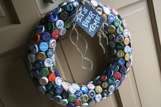 """Beer cap wreath -- Great for Father's Day or for your """"Beer Garden"""""""