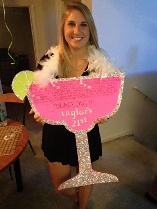 21st birthday sign!! Strawberry margarita!
