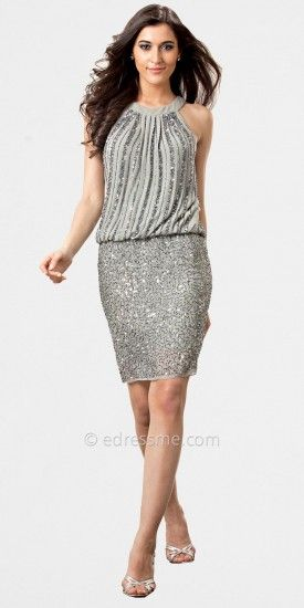 Grey Sequined Halter Cocktail Dresses by JS Collection......Price - $310.00 - 6qGzTb3C: