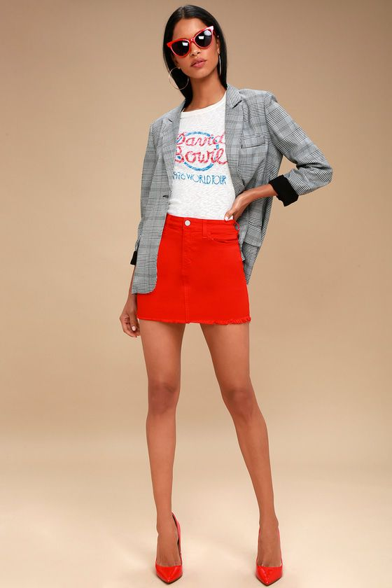 limited guantity cost charm presenting Pop and Lock Red Denim Mini Skirt | Outfits idea in 2019 ...