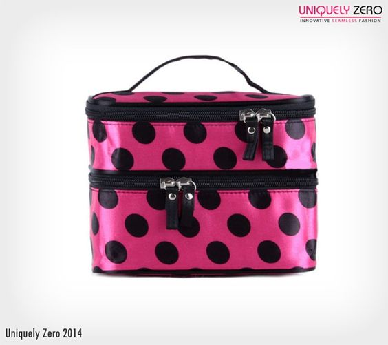 Stay #Organized With @UniquelyZero  Ideal For #Travelling Polka Dot Zip #Cosmetic #Organizer http://www.uniquelyzero.com/travel/polka-dot-double-layer-zip-cosmetic-organizer-kit?___SID=U