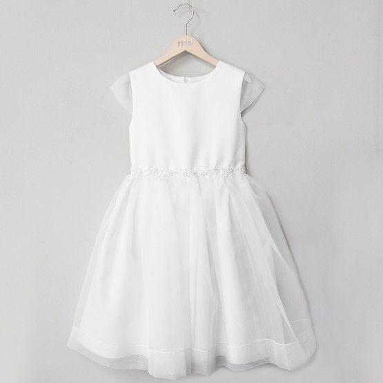 Minimi Sukienka Biala Z Koralikami W Pasie Dresses White Dress Flower Girl Dresses