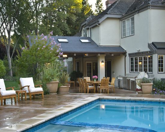 Veranda Design, Fascinating Traditional Patio Covered Patio Designs With  Charming Modern Pool Design Also Wooden Armchairs With White Fabric.