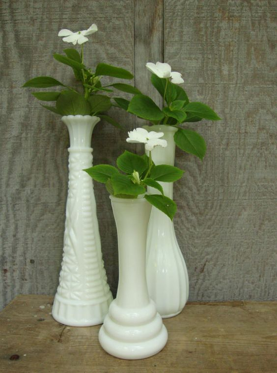 Milk glass vases. So simple!