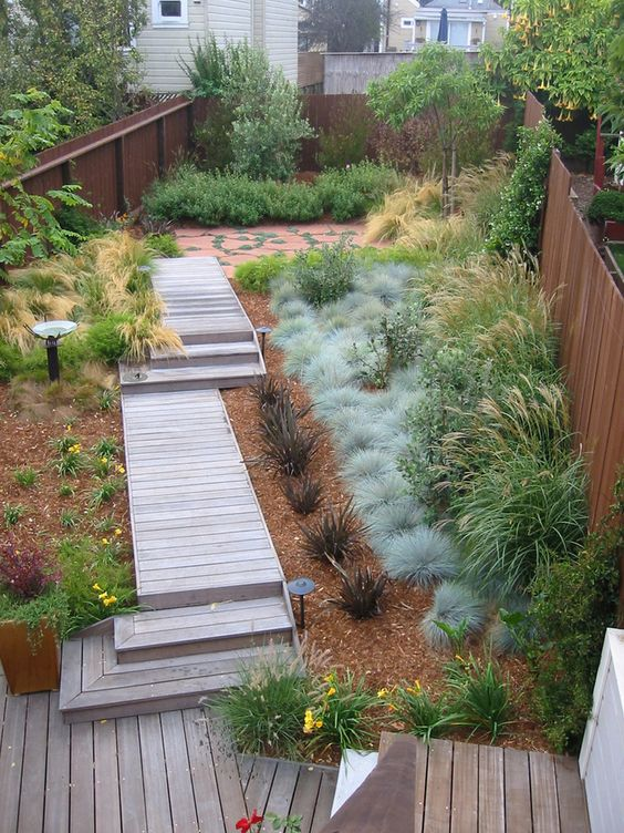 Superb blue oat grass fashion other metro modern landscape for Front garden decking ideas