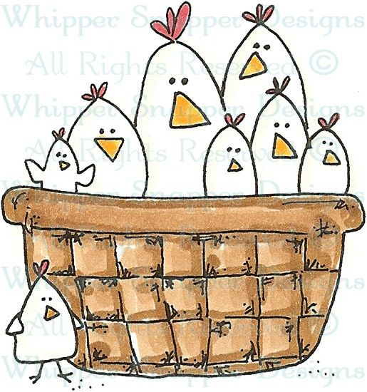 Basket of Chicks - Chickens - Animals - Rubber Stamps - Shop