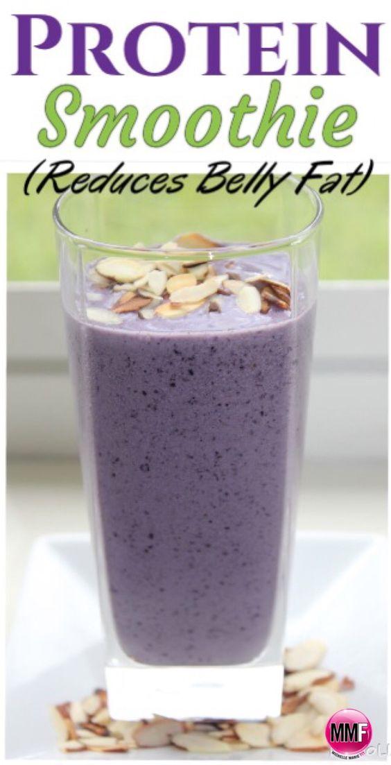 1 cup almond milk plus water to desired consistency ~ 1/2 cup frozen blueberries ~ 1/4 frozen banana ~ 1/2 tbsp almond butter ~ 1 tbsp sliced almonds, toasted ~ 1 scoop vanilla protein powder (PROGRADE)