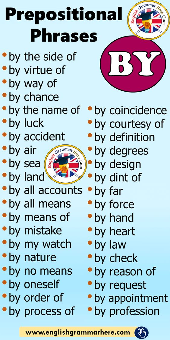 Prepositional Phrases BY List, Example Phrases - English Grammar Here