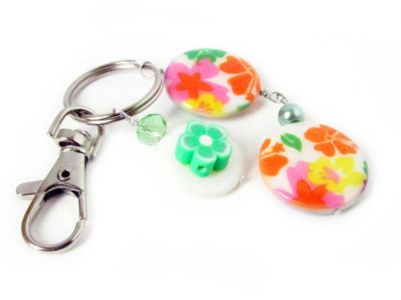 Luggage Tag, Suitcase Tag, Car Accessories, Beaded Keychain, Orange Keychain, Travel Accessory, Flower Luggage Tag,