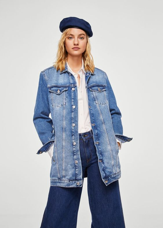 Oversize denim jacket - f foBiker jackets Women | MANGO USA