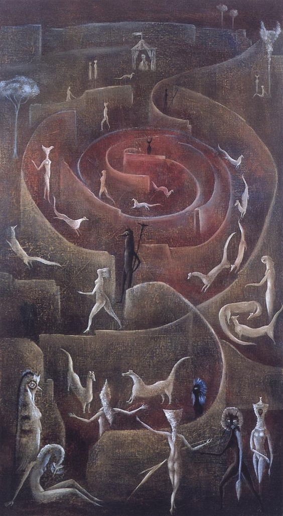What do you see here?  I see this visitors in a rosebud.  (art:: Leonora Carrington):