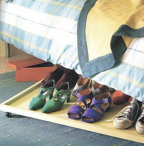 otra idea para guardar zapatos abajo de la cama ideas. Black Bedroom Furniture Sets. Home Design Ideas