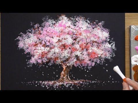 Comment Peindre Un Cerisier En Acrylique Techniques De Peinture Sakura Youtube Cherry Blossom Painting Sakura Painting Q Tip Painting