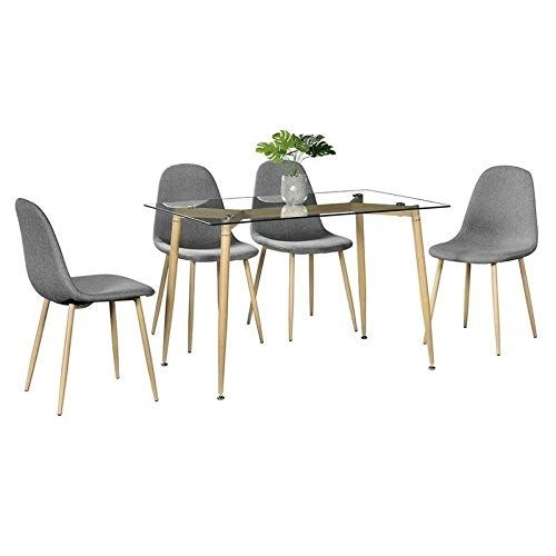 5 Piece Furniture Tempered Glass Dining Table Set W 4 Chairs