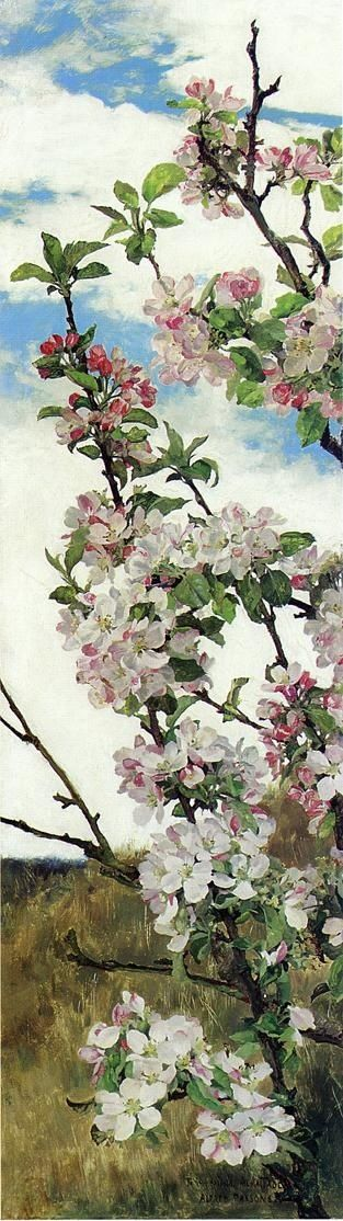 'Apple Blossoms' - Alfred William Parsons, R.A., P.R.W.S.: