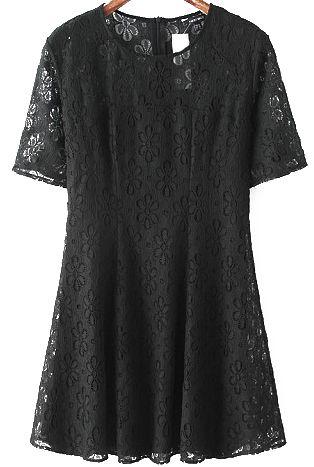 Short Sleeve Jacquard Lace Pleated Dress
