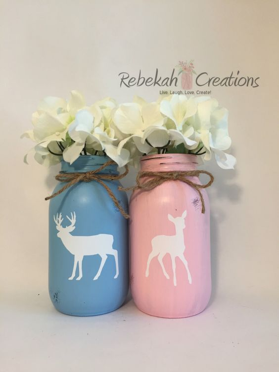Buck or Doe Mason Jars, Buck and Doe Mason Jars, Buck or Doe, Gender Reveal Mason Jars, Rustic Gender Reveal Decor, Buck or Doe Decor, Deer