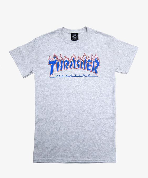 thrasher t shirt patriot flame ash grey favs pinterest chemises patriotes et gris cendr. Black Bedroom Furniture Sets. Home Design Ideas