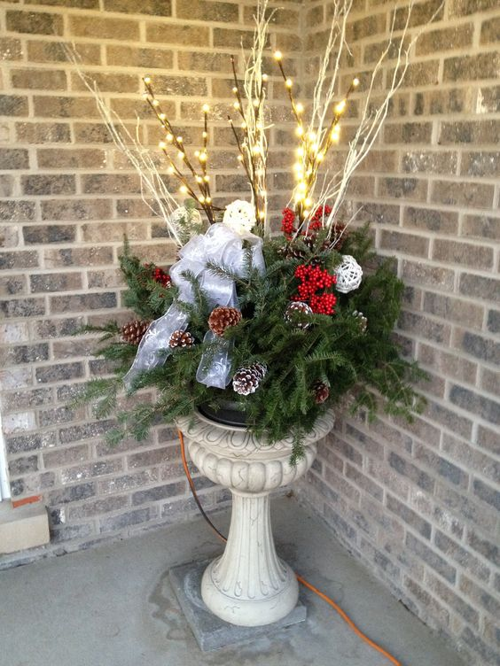 Christmas porch pot