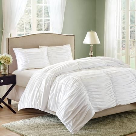 Better Homes and Gardens Ruched 3-Piece Bedding Comforter Mini Set - Queen, white  Walmart.com