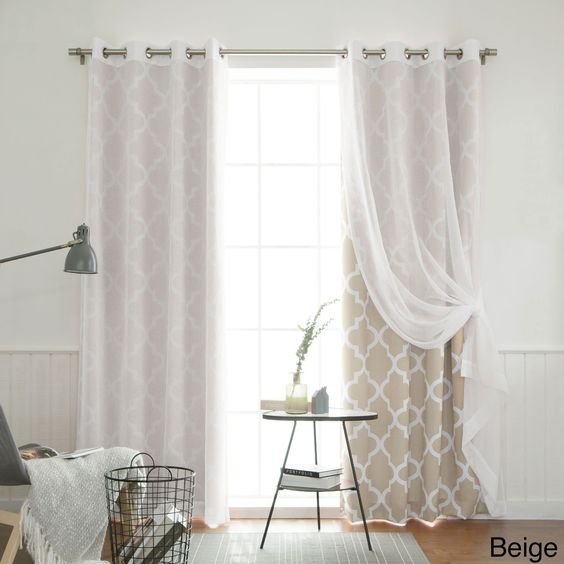 Aurora Home MIX and Match Curtains Muji Sheer Moroccan 84-inch 4 ...