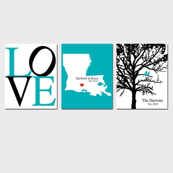 Modern Newlywed Trio - Set of Three 8x10 Customizable Prints - Love, Family Established Bird Tree, and Love Map - GREAT WEDDING GIFT. $59.50, via Etsy.