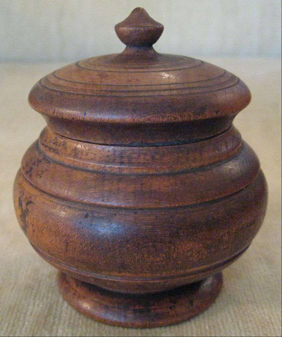 """19th Century American (Ohio) Miniature Peaseware turned treen (maple) bulbous form container. This miniature stands approximately 2-1/2"""" tall. It retains the original finish along with stripe decoration. This is a scarce size for the bulbous form and sought after by collectors of Peaseware."""