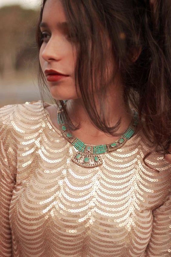 Alana from Instinto De Vestir in the   Moon Shield Necklace
