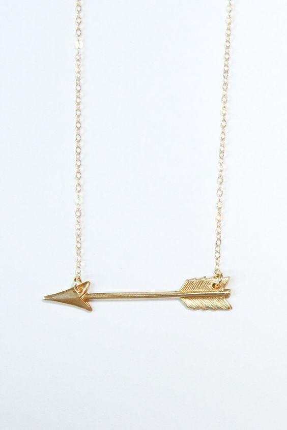 Gold arrow necklace -  necklace. $38.00, via Etsy.