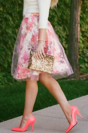 tulle overlay floral skirt