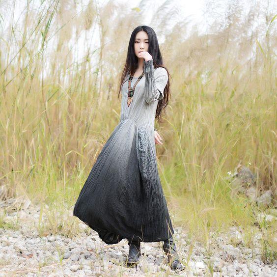 Plus size cotton dress linen dress oversized tunic by JulyFlower
