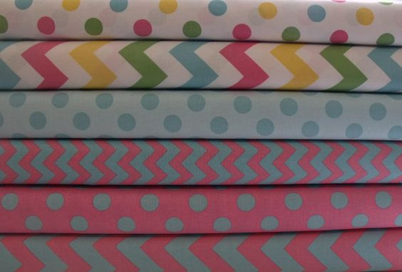 Chevron and Polka Dot Cotton Fabric by Riley by ThePalmettoBaby, $8.50