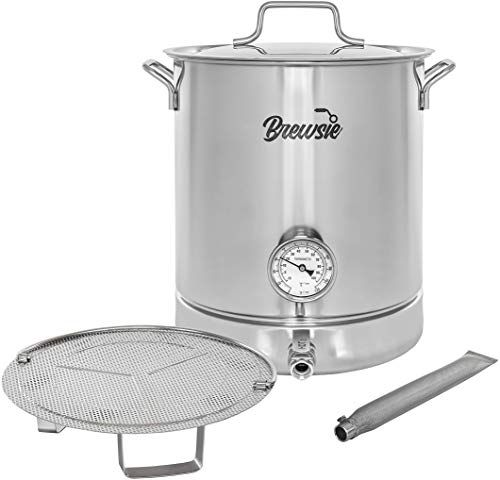 Buy Brewsie Stainless Steel Home Brew Kettle W Dual Filtration Equip False Bottom Thermometer Ball Valve Brewing 10 Gal 40 Quart Online Steel House Home Brewing Brewing Equipment