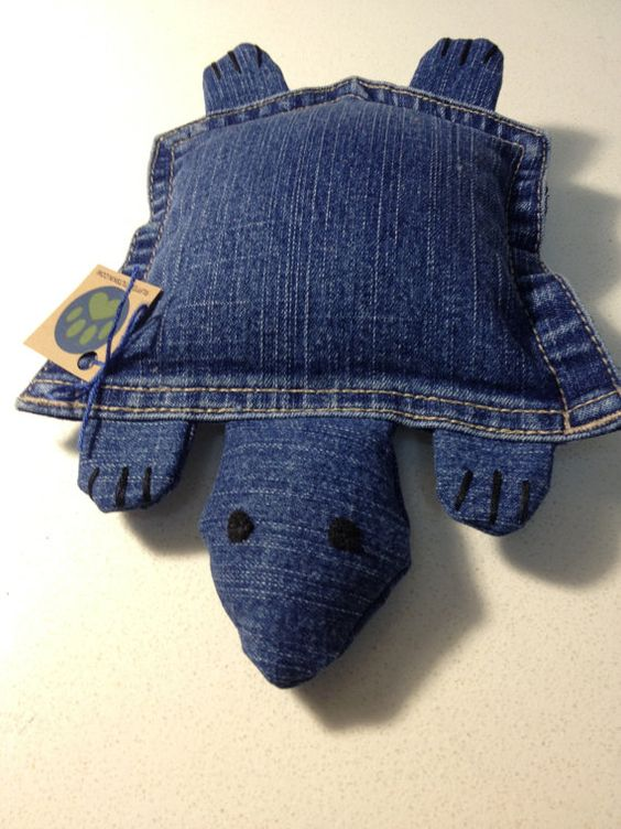 Upcycled Denim Pocket Turtle, Plush Dog Toy, Blue, Medium: