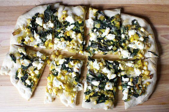 leek, corn and chard flatbread by smitten