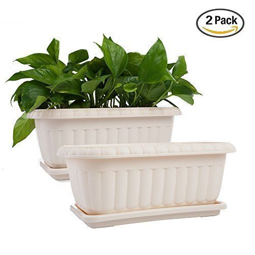 Mkono 2 Pack 15 Inches Flower Box Planter Plastic Plant Pots With Saucers For Mkono