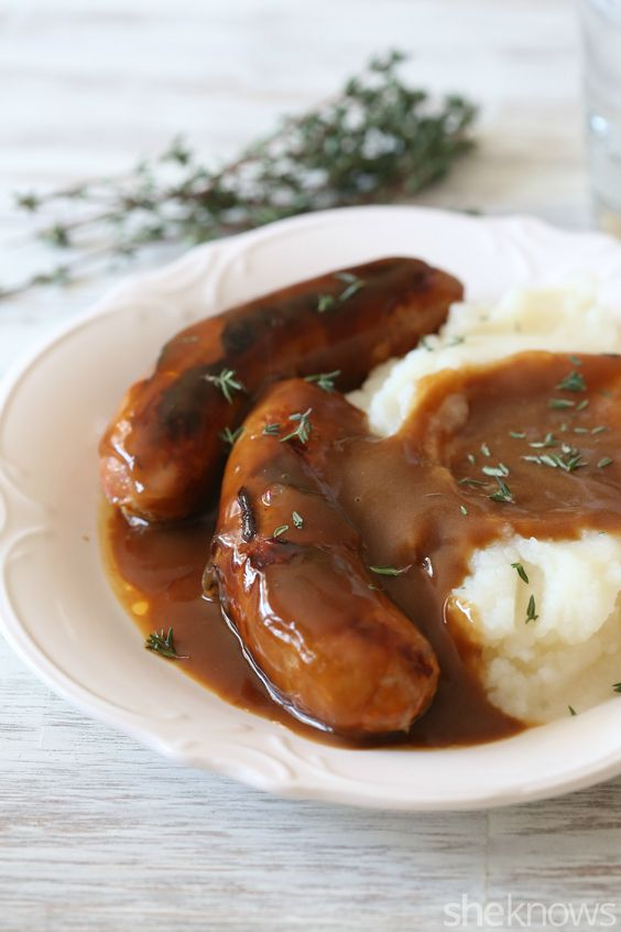 Bangers and mash with Guinness gravy makes a hearty St. Patty's day dinner