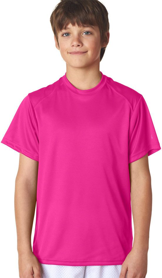 badger youth b-core short-sleeve performance tee - hot pink (xs)