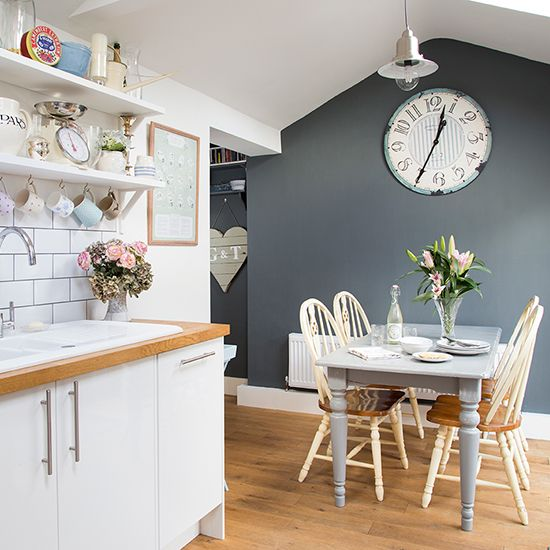 White Kitchen Feature Wall decorating with white | grey feature wall, kitchens and gray