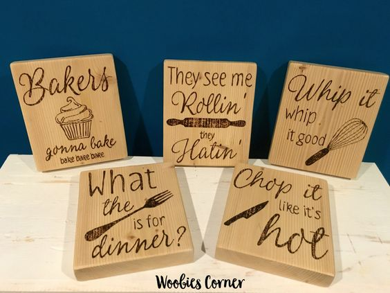 SET OF FIVE, Kitchen Quotes, Wooden kitchen signs, Rustic kitchen sign, kitchen decor, kitchen wall decor, Rustic kitchen wall decor by WoobiesCorner on Etsy https://www.etsy.com/listing/471745101/set-of-five-kitchen-quotes-wooden